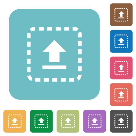 Drag to upload white flat icons on color rounded square backgrounds Illusztráció