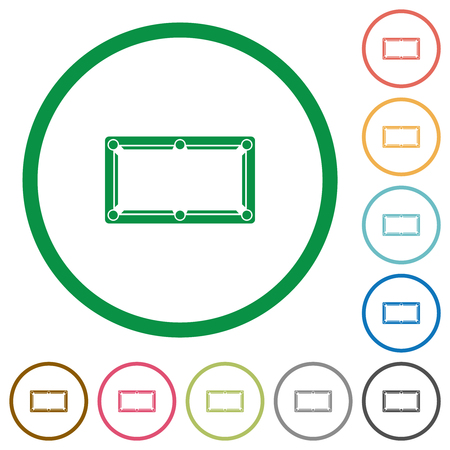 Empty billiard table flat color icons in round outlines on white background