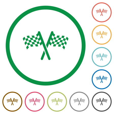 Two chequered flags flat color icons in round outlines on white background