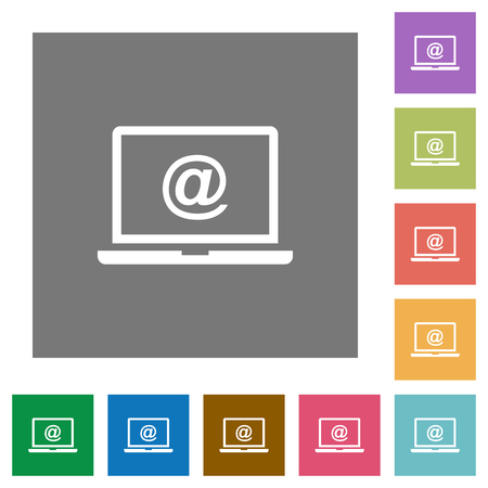 Laptop with email symbol flat icons on simple color square backgrounds