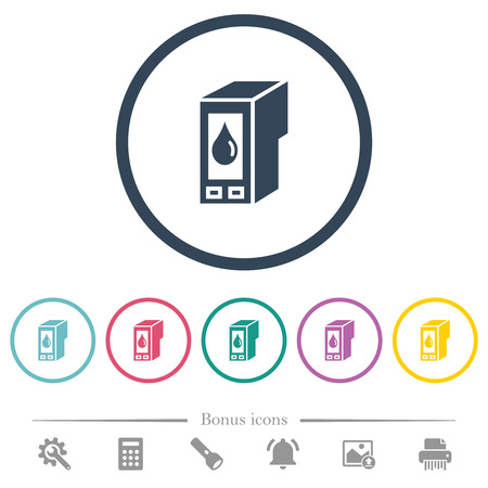 Ink cartridge flat color icons in round outlines. 6 bonus icons included.