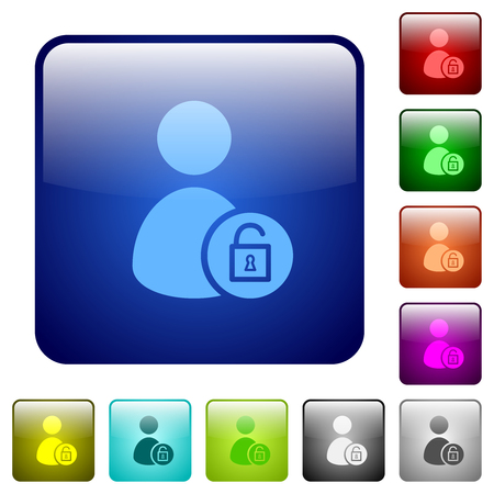 Unlock user account icons in rounded square color glossy button set