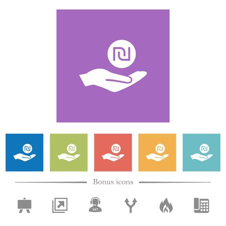 Israeli new Shekel earnings flat white icons in square backgrounds. 6 bonus icons included.
