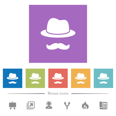Incognito with mustache flat white icons in square backgrounds. 6 bonus icons included.