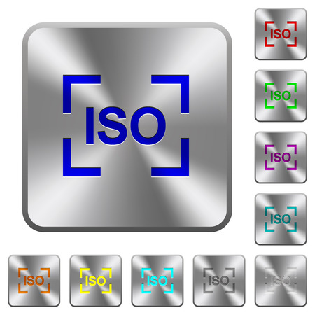 Camera iso speed setting engraved icons on rounded square glossy steel buttons 向量圖像