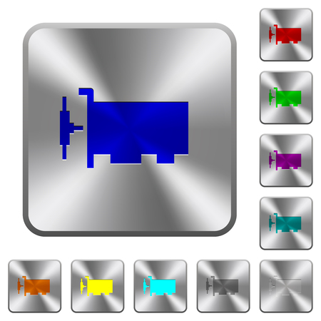 Network interface card engraved icons on rounded square glossy steel buttons