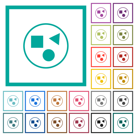 Grouping elements flat color icons with quadrant frames on white background Illustration