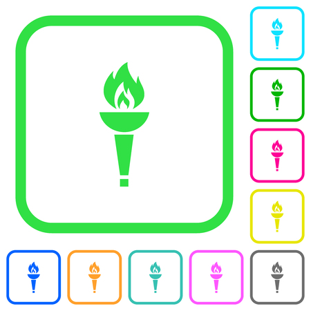 Torch vivid colored flat icons in curved borders on white background Ilustrace