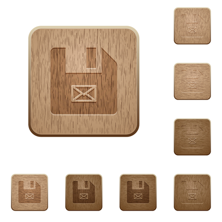 Message file on rounded square carved wooden button styles 向量圖像