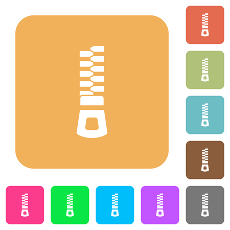 Vertical zipper flat icons on rounded square vivid color backgrounds.
