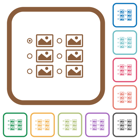 Single image selection with radio buttons simple icons in color rounded square frames on white background Illustration