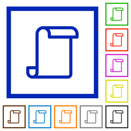 Blank paper scroll flat color icons in square frames on white background
