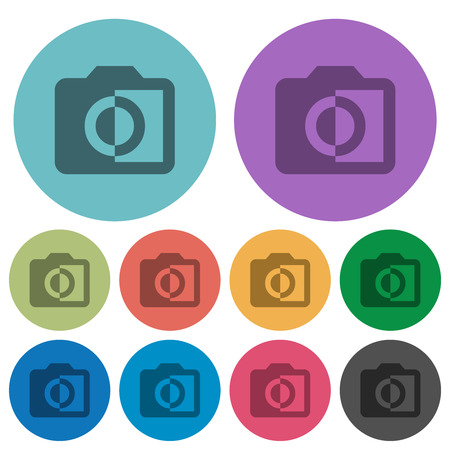 Monochrome photos darker flat icons on color round background