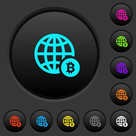Online Bitcoin payment dark push buttons with vivid color icons on dark grey background