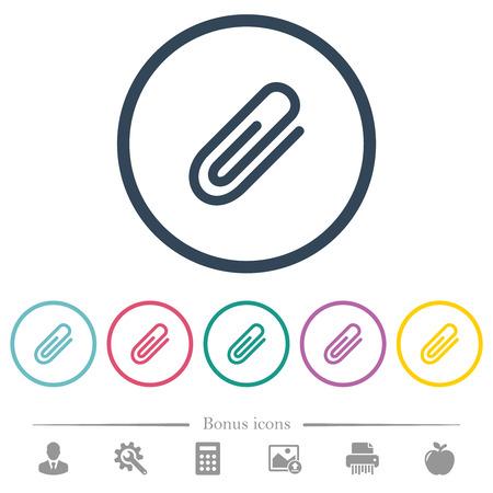 Icônes de couleur plate de pièce jointe dans les contours ronds. 6 icônes bonus incluses.