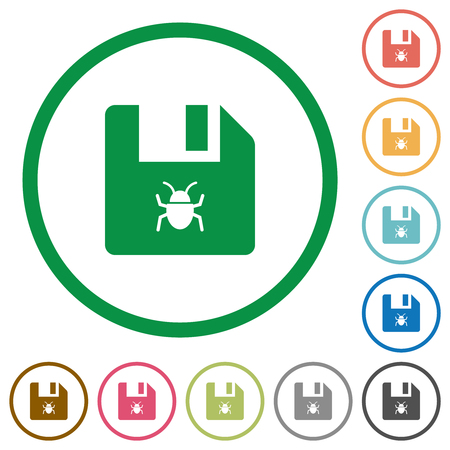 Infected file flat color icons in round outlines on white background