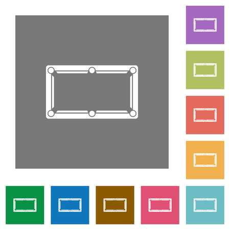 Empty billiard table flat icons on simple color square backgrounds Stock Illustratie