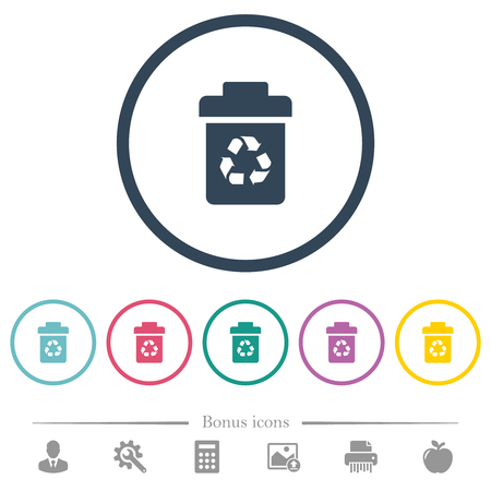 Recycle bin flat color icons in round outlines. 6 bonus icons included.