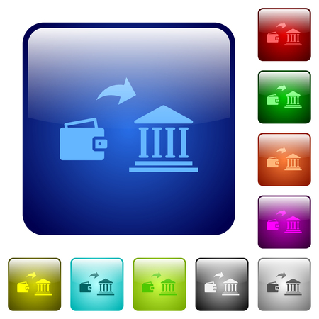 Money deposit to bank icons in rounded square color glossy button set