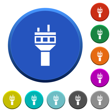 Air control tower round color beveled buttons with smooth surfaces and flat white icons