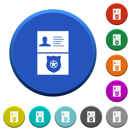 Police id and badge round color beveled buttons with smooth surfaces and flat white icons