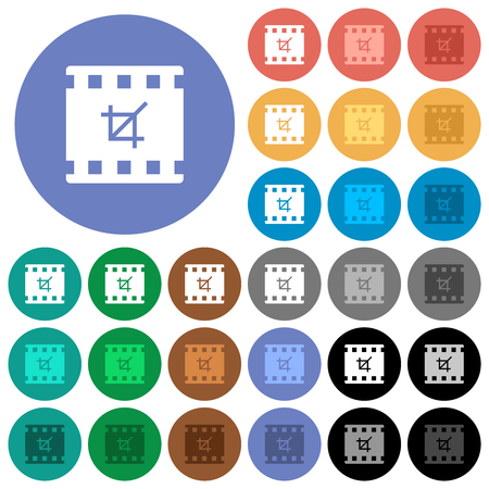 Crop movie multi colored flat icons on round backgrounds. Included white, light and dark icon variations for hover and active status effects, and bonus shades.