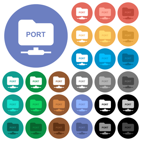 FTP set port multi colored flat icons on round backgrounds. Included white, light and dark icon variations for hover and active status effects, and bonus shades.