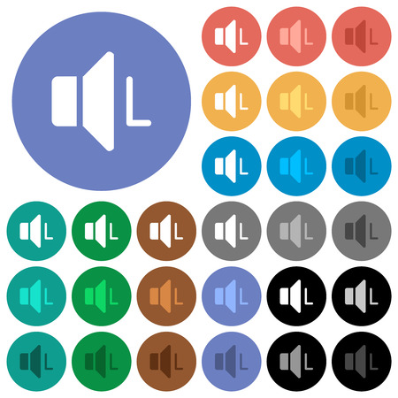 Left audio channel multi colored flat icons on round backgrounds. Included white, light and dark icon variations for hover and active status effects, and bonus shades.