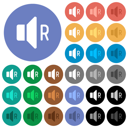 Right audio channel multi colored flat icons on round backgrounds. Included white, light and dark icon variations for hover and active status effects, and bonus shades. Illustration