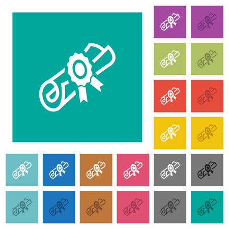 Diploma scroll with seal multi colored flat icons on plain square backgrounds. Included white and darker icon variations for hover or active effects.