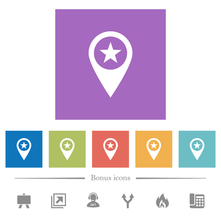 POI GPS map location flat white icons in square backgrounds. 6 bonus icons included.