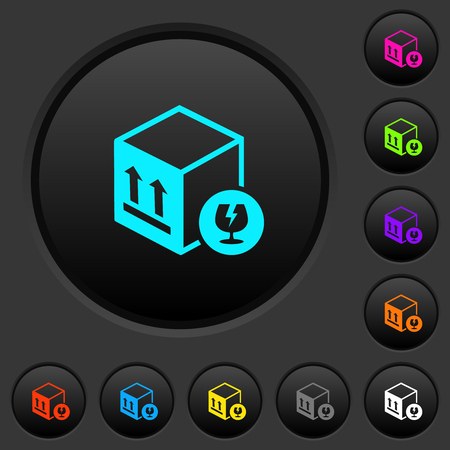 Fragile package dark push buttons with vivid color icons on dark grey background Illustration