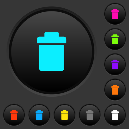 Single trash dark push buttons with vivid color icons on dark grey background