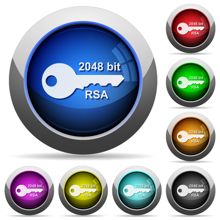 2048 bit rsa encryption icons in round glossy buttons with steel frames Vetores