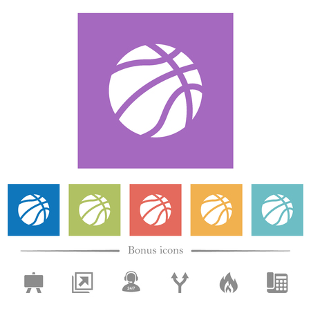 Basketball flat white icons in square backgrounds. 6 bonus icons included.
