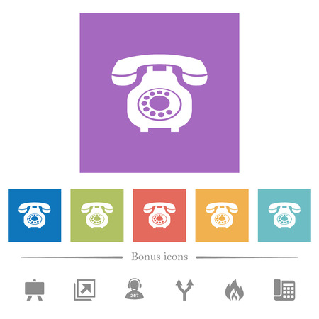 Vintage retro telephone flat white icons in square backgrounds. 6 bonus icons included.