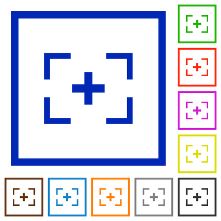 Camera crosshairs flat color icons in square frames on white background