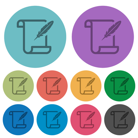 Paper scroll with feather darker flat icons on color round background