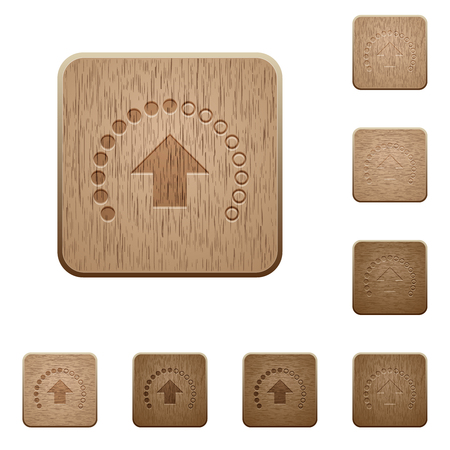 Upload in progress on rounded square carved wooden button styles Stock Illustratie