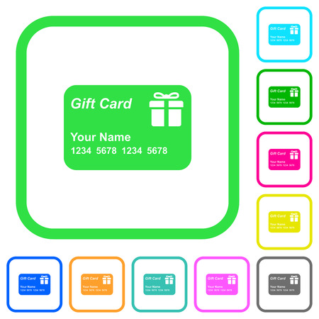 Gift card with name and numbers vivid colored flat icons in curved borders on white background Foto de archivo - 126818638