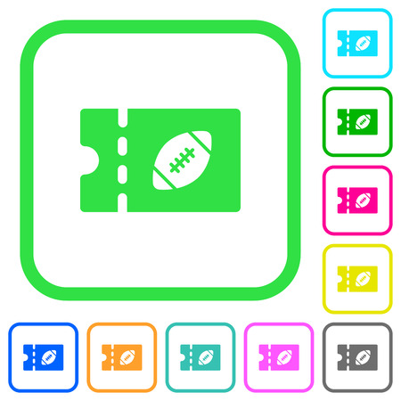 Rugby discount coupon vivid colored flat icons in curved borders on white background 矢量图像