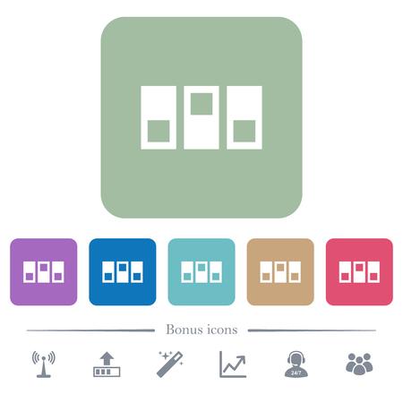 Icônes plates blanches de standard sur les arrière-plans carrés arrondis de couleur. 6 icônes bonus incluses