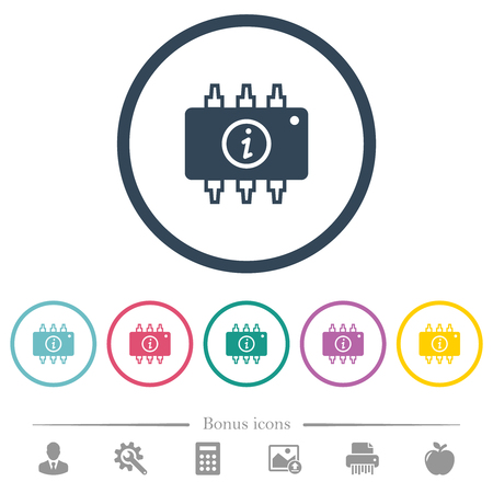 Hardware info flat color icons in round outlines. 6 bonus icons included.