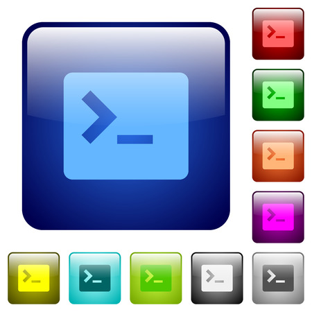 Command terminal icons in rounded square color glossy button set