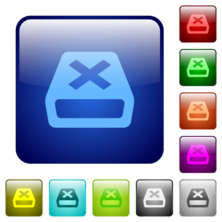 Uninstall icons in rounded square color glossy button set