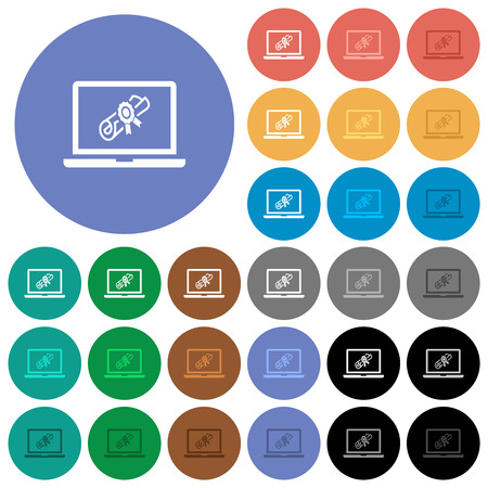Webinar on laptop multi colored flat icons on round backgrounds. Included white, light and dark icon variations for hover and active status effects, and bonus shades. 일러스트