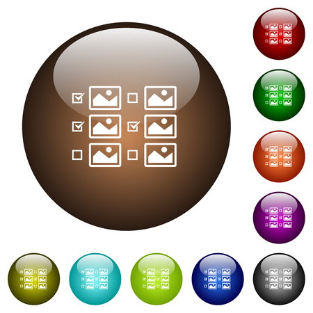 Multiple image selection with checkboxes white icons on round color glass buttons Vectores