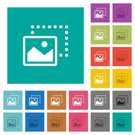 Drag image to bottom left multi colored flat icons on plain square backgrounds. Included white and darker icon variations for hover or active effects. Ilustração