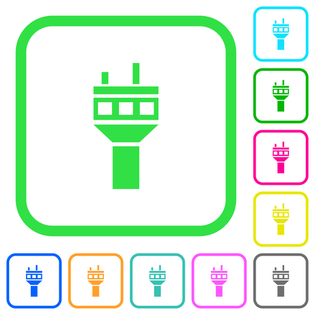 Air control tower vivid colored flat icons in curved borders on white background
