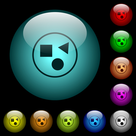 Grouping elements icons in color illuminated spherical glass buttons on black background. Can be used to black or dark templates Ilustrace
